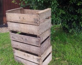 FRENCH Apple Wooden Vintage Storage Crate apple bushel Box Rustic Shabby Chic  Storage shelving Bedisde table and drawers ideas!