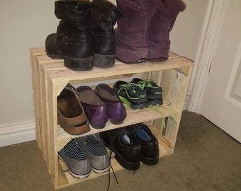 SHABBY CHIC wooden shoe rack  / organiser- handmade apple fruit crate box