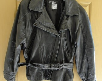 size P North Beach leather Black Soft Leather jacket coat small 90s 1990s belted belt Micheal Hoban designer
