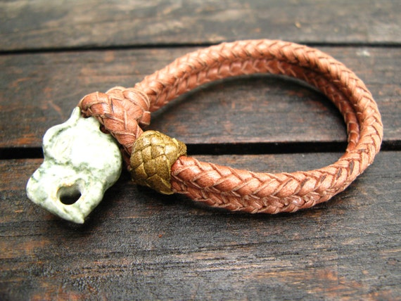 Leather and Jade Dragon Bracelet