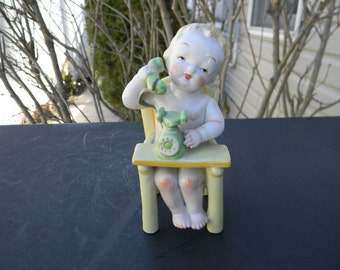 Ardalt Lenwile Numbered China Hand Painted Porcelain Baby in Highchair on Telephone