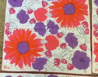 Vintage Vera Neumann Bright Floral Napkins Table Linens Set of Four