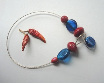 Red and turquoise necklace * OFFER * rope Clothesline