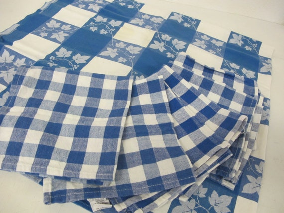 Blue Checkered Tablecloth and Napkins Blue White tablecloth