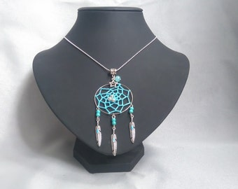 Necklace dream catcher feathers Turquoise Silver