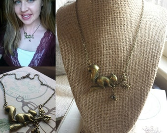 Bronze Squirrel Necklace, Woodland Animal Jewelry, Squirrel and Acorn Necklace, Nature Inspired Jewelry, Squirrel Necklace