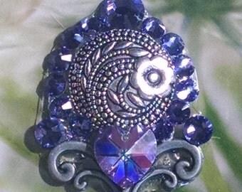 Purple Crystal and Floral Bindi