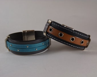Stacked and Layered Leather Bracelets