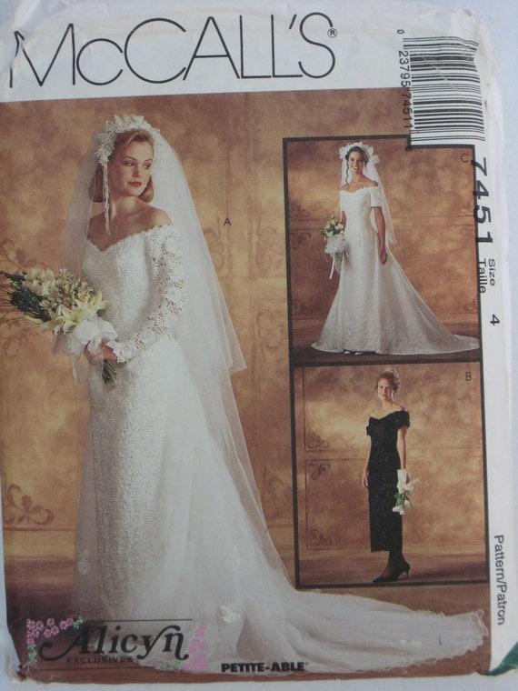 Wedding dress pattern mccalls 7451 alicyn bridal gowns for Wedding dress patterns mccalls