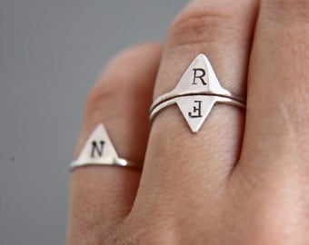 Personalised ring. Initial ring.Initial jewellery.Personalised jewellery. Personalized gift. Custom made.Sterling silver initial ring.