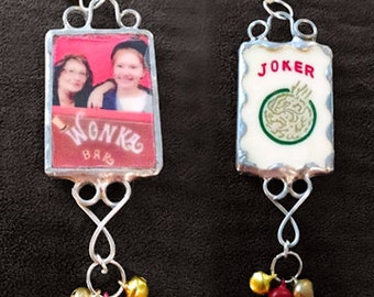 Custom Photo + Game Piece Soldered Pendants--your photo, select from game piece and or special number on game piece