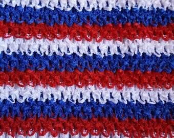 """RED/BLUE/WHITE  tutu top  10"""" X 9"""" crochet tutu top  - tube top,tutu dress supply,tutu top,stretchy tutu dress top ,tutu dress top"""