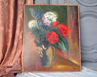 French vintage oil painting still life flowers. Red flowers in vase. Blue flowers. French impressionism. French country shabby chic.