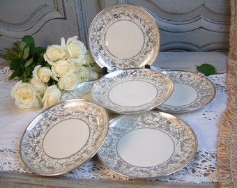Set of 6 vintage Italian porcelain dessert plates with silver gilt butterflies. Italian mid century