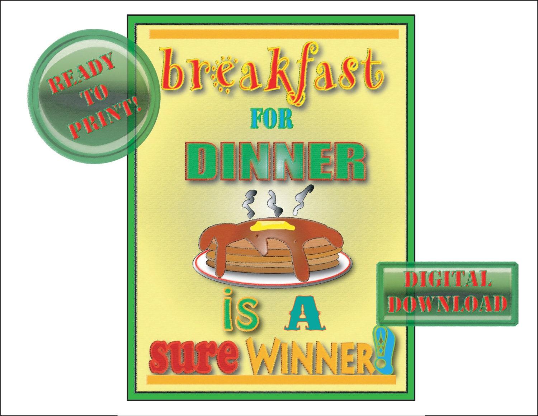 Pancakes Sign Printable Breakfast for Dinner Retro 50s Diner