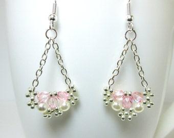 Pink silver and pearl beaded earrings, rose pink earrings, pearl earrings, wedding earrings, bridal earrings, chandelier earrings ER036