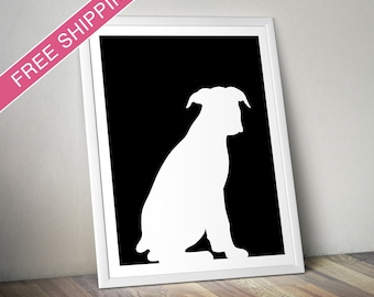Boxer Print (version 3) -  Boxer Silhouette, Boxer dog art, dog portrait, modern dog home decor