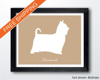 Personalized Silky Terrier Silhouette Print with Custom Name (Long Hair) - dog art, dog portrait, dog gift