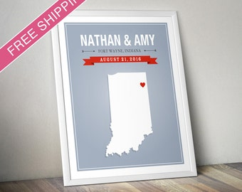 Personalized Indiana Wedding Gift - Custom Indiana State Map Art Print, Wedding Guest Book, Engagement Gift, Mid Century Modern
