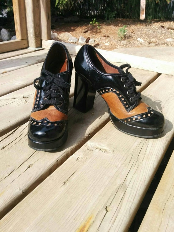 vintage 90s platform saddle shoes by sears size by
