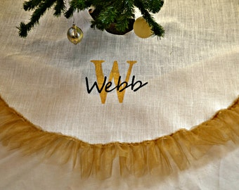 Tree Skirt -Christmas Tree Skirt- White burlap and gold tree skirt- Burlap and Tulle  Personalized Christmas  Tree Skirt- Gold Christmas