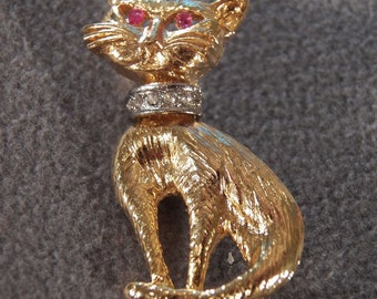 Vintage Gold Tone Pretty Kitty Brooch, Just Darling & So Sweet!~~ **RL
