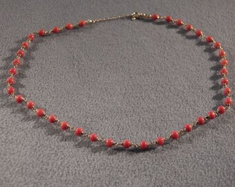 Vintage Italian 18 K Yellow Gold Multi Round Coral Stone Bead Tennis Link Necklace **RL