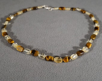 Vintage Genuine Citrine and Tigers Eye Glass Stone Oval Shape Alternating Necklace Silver Tone Claw Closure Chocker Style Jewelry     KW11
