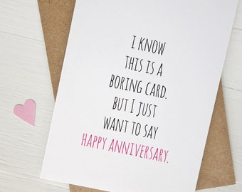 Funny anniversary card Boring card Happy anniversary gift minimalist greeting card