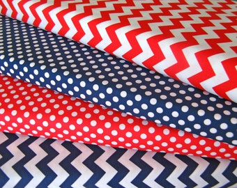 Riley Blake 1 Yard Each Red Small Dots Red Small Chevron Fabric Duo By The Yard BTY