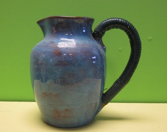 "1960's Brown County Hills Pottery Studio Pitcher Mid Century Modern Blue Glaze 6"" Hand Thrown"