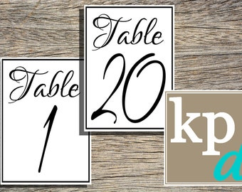 Simple Table Number Pack (Photo Size)
