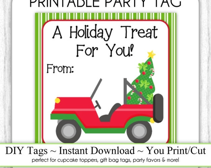 Christmas Printable Party Tags, To From Tags, Xmas Jeep, Kids Christmas Tags, DIY, You Print, You Cut, INSTANT DOWNLOAD