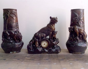 Mantel clock set and garnitures Antique French clock terracotta Lion and Tiger figurines clock by A. Artrolle