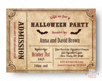Ticket Halloween Invitation - Adult Halloween Invitation - Printable Halloween Invites - Halloween Party Invitations - Halloween Birthday