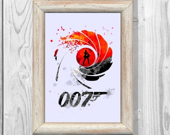 James Bond Poster Watercolor 007 Print Superheroes  Art Print Giclee Wall Illustrations Art Print 8x10 Wall Decor  Home Decor No30