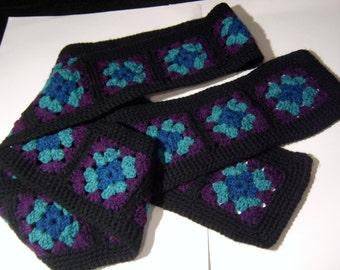 SALE!  crochet granny square scarf