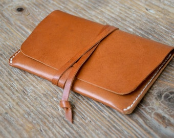 Veg tan leather passport holder cover, rustic brown travel wallet, cash card holder, hand stitched, for men & women
