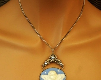 Angel Cameo Necklace in blue white silver, 3D necklace, antique jewelry, Christmas, angel wings, gift idea for her