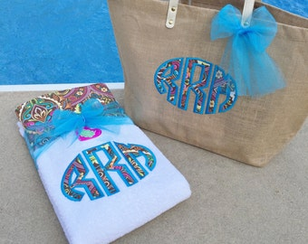 Fun with Florals 2 Pc Set - Embroidered Beach Towel or Lounge Chair Towel, and Mud Pie Tote Bag with Matching Bow
