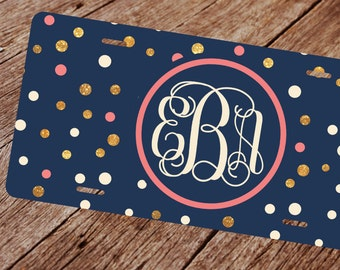 Monogram License Plate. License Plate Frame. Front Plate Blue & Gold Dots Monongram License Plate.  Monogram Car Tag. Personalized Car Tag.