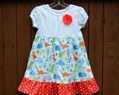 Dinosaurs! Girls Dinosaur Dress with ruffle**Spring summer dino dress**Toddler girls dress**Orange, White, Blue, Green, Navy, flower pin