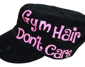 """NEW! Neon Pink Glitter """"Gym Hair Don't Care"""" Black Vintage Style Distressed Look Cadet Cap"""