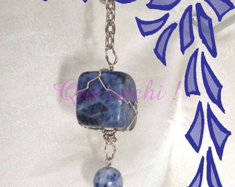 Silver Key Ring with Stones Sodalite