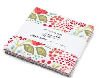 "Juniper Berry 5"" Charm Squares, by Basicgrey for Moda Fabrics SKU#30430pp"