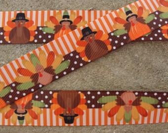 "Turkey Grosgrain Ribbon Thanksgiving Ribbon Happy Turkey Printed Ribbon 7/8"" Hair Bow Ribbon 3 yards"