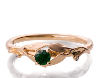 Leaves Engagement Ring - 18K Rose Gold and Emerald ring, May Birthstone, Three stone ring, engagement ring, leaf ring, Emerald Ring, 13