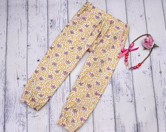Girls Chillax pants size 3 yellow floral print