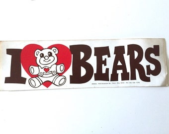 I love bears bumper sticker vintage 80s gift funny