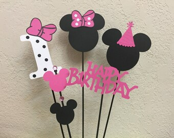 Minnie Mouse Birthday Centerpiece toppers/skewers